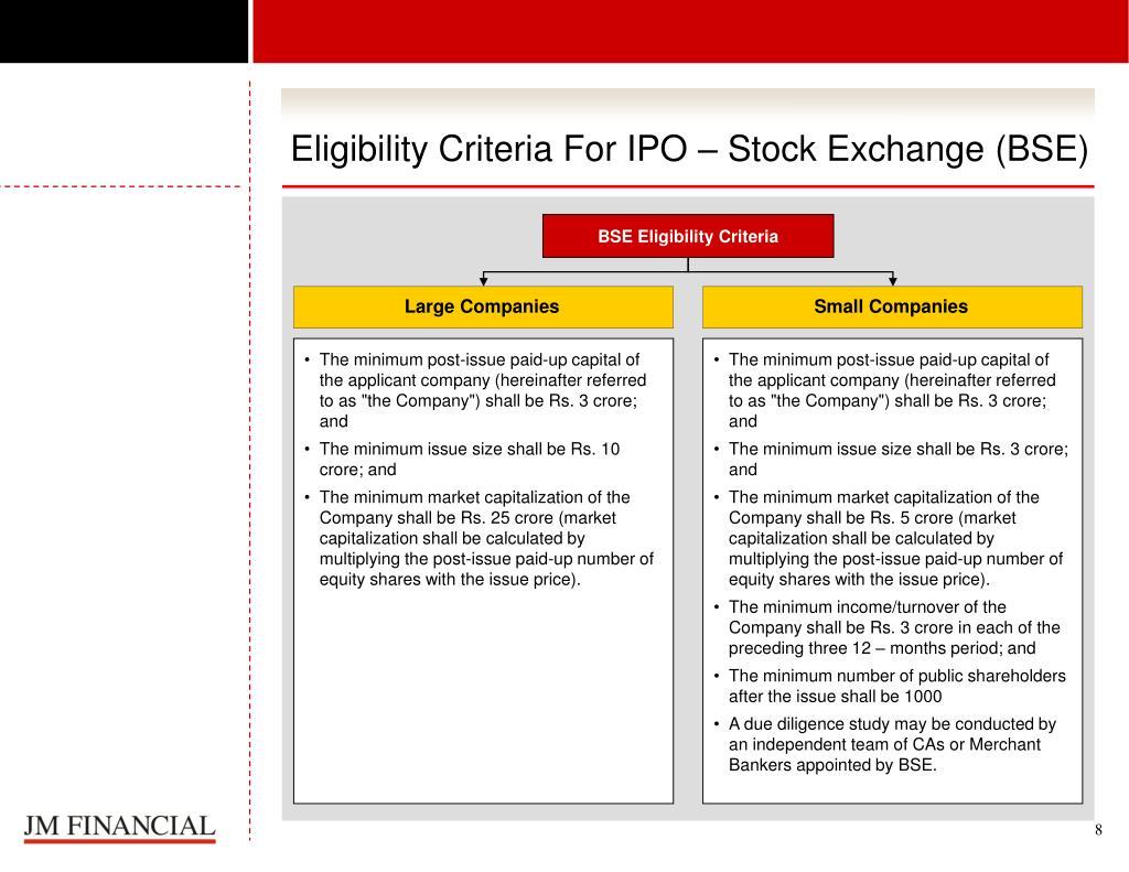 Eligibility Criteria For IPO – Stock Exchange (BSE)
