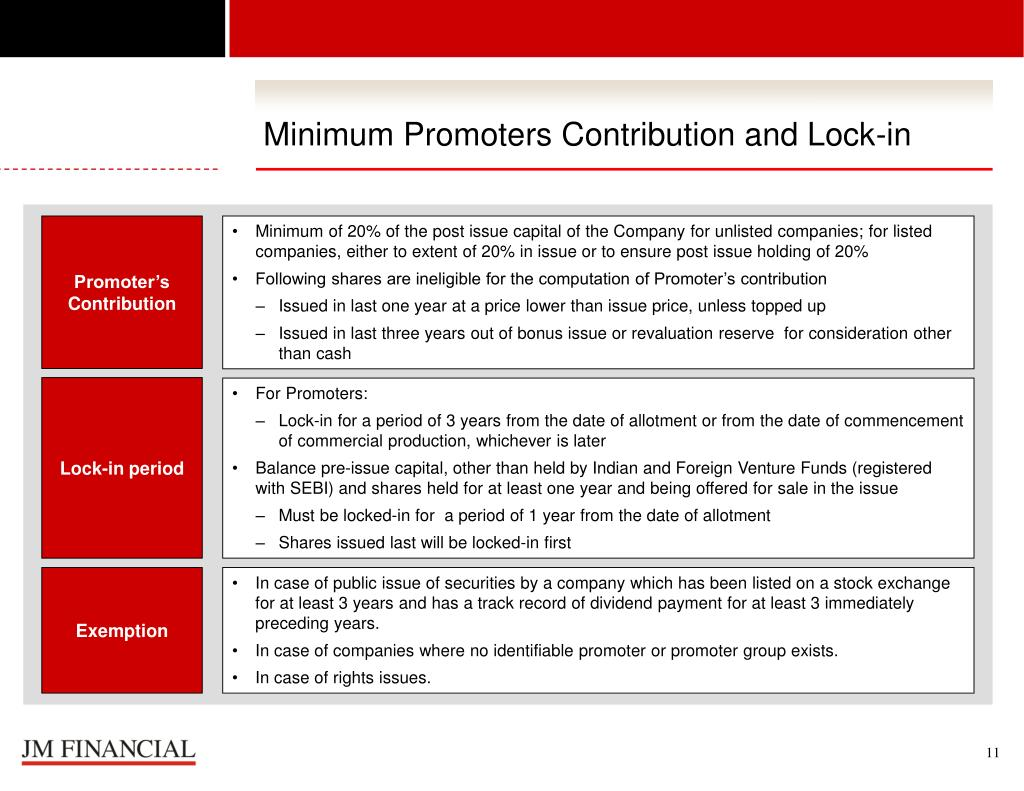 Minimum Promoters Contribution and Lock-in