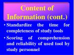 content of information cont