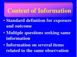 content of information