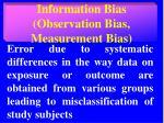 information bias observation bias measurement bias