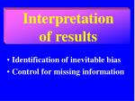interpretation of results
