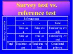 survey test vs reference test