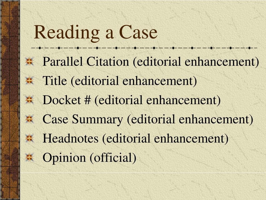 Reading a Case