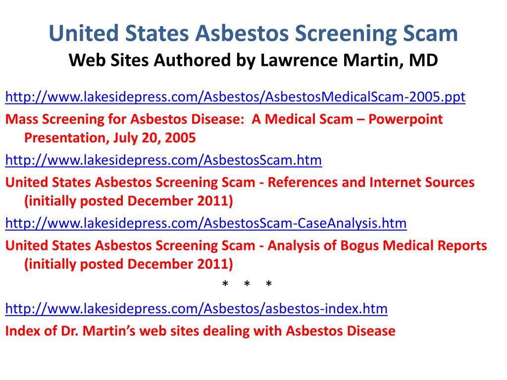 united states asbestos screening scam web sites authored by lawrence martin md l.
