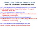 united states asbestos screening scam web sites authored by lawrence martin md