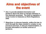 aims and objectives of the event