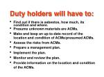 duty holders will have to