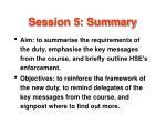 session 5 summary