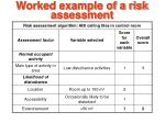 worked example of a risk assessment