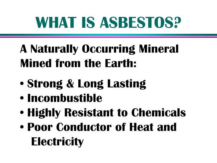 what is asbestos essay Asbestos is a set of six naturally occurring silicate minerals, which all have in common their eponymous asbestiform habit: ie long (roughly 1:20 aspect ratio), thin fibrous crystals, with each visible fiber composed of millions of microscopic fibrils that can be released by abrasion and other processes.