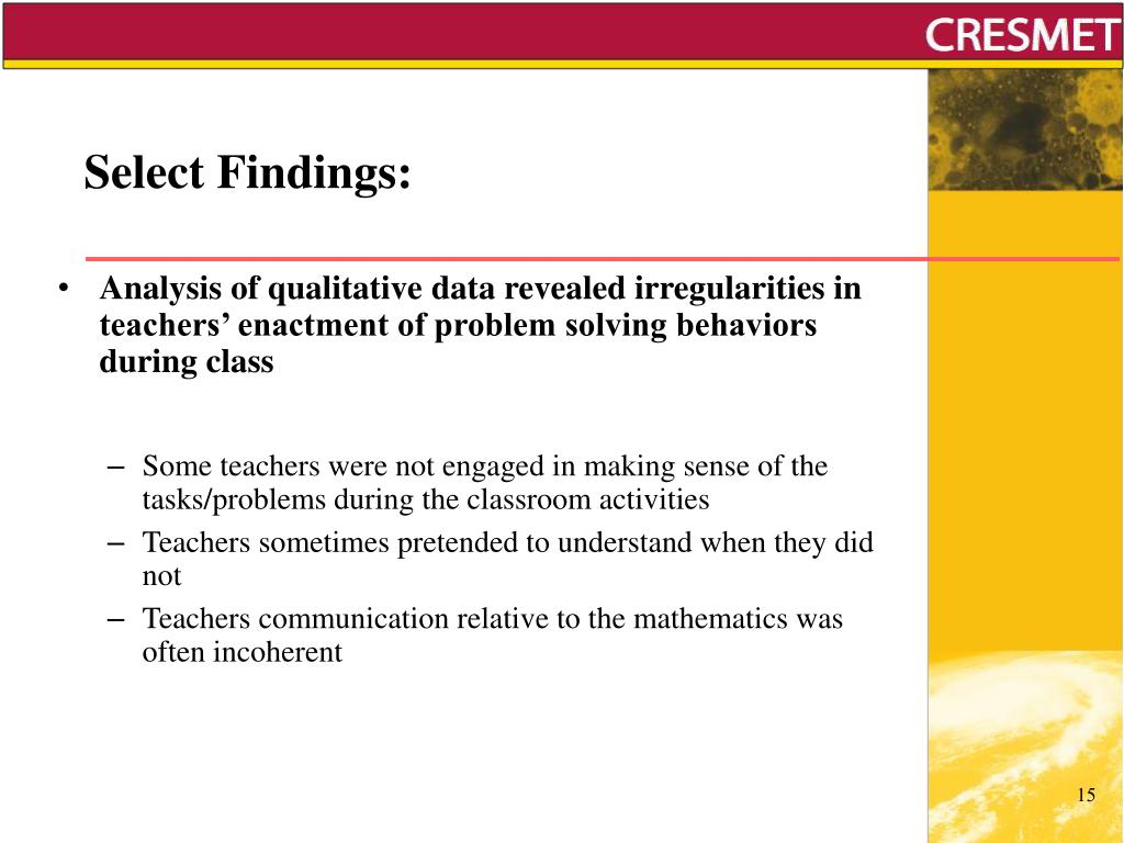 Select Findings: