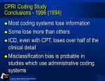 cpri coding study conclusions 1996 1994