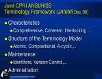 joint cpri ansi hisb terminology framework jaimia dec 98