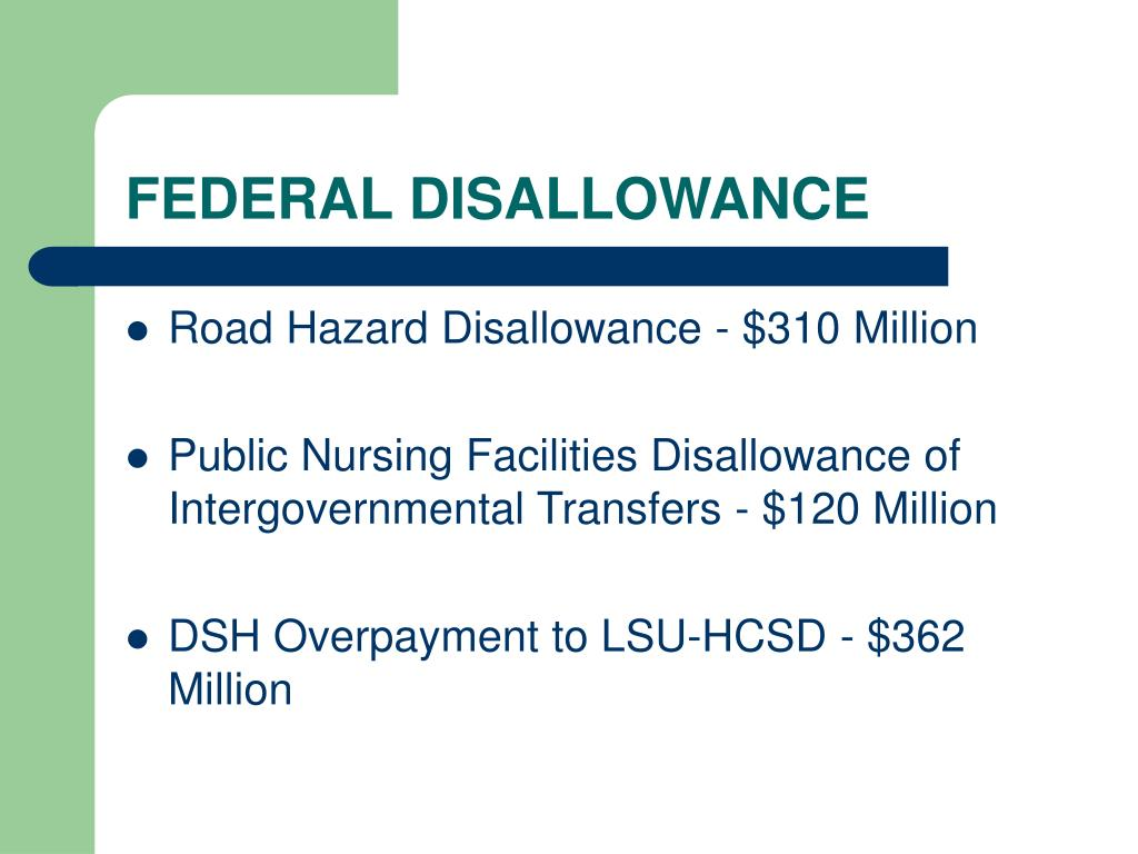 FEDERAL DISALLOWANCE