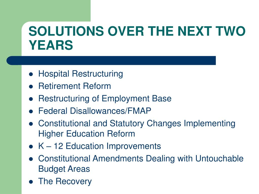 SOLUTIONS OVER THE NEXT TWO YEARS