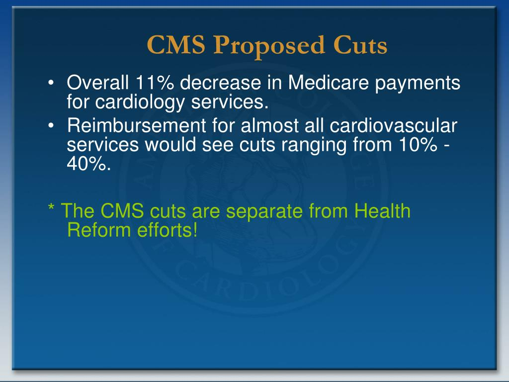 Overall 11% decrease in Medicare payments for cardiology services.
