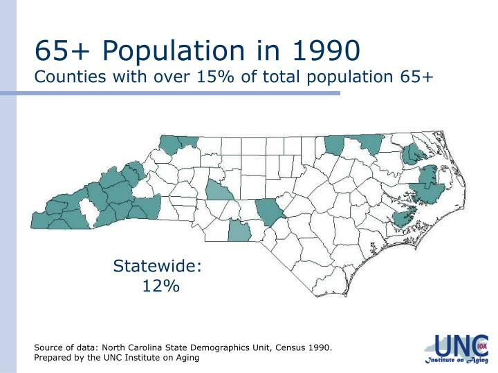 65 population in 1990 counties with over 15 of total population 65