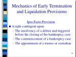mechanics of early termination and liquidation provisions