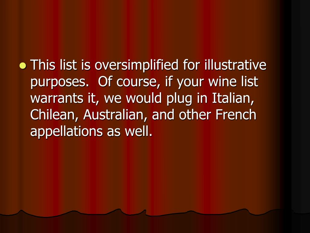 This list is oversimplified for illustrative purposes.  Of course, if your wine list warrants it, we would plug in Italian, Chilean, Australian, and other French appellations as well.