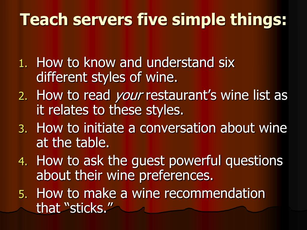 Teach servers five simple things: