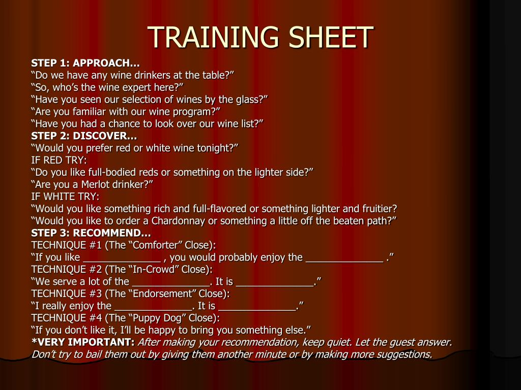 TRAINING SHEET