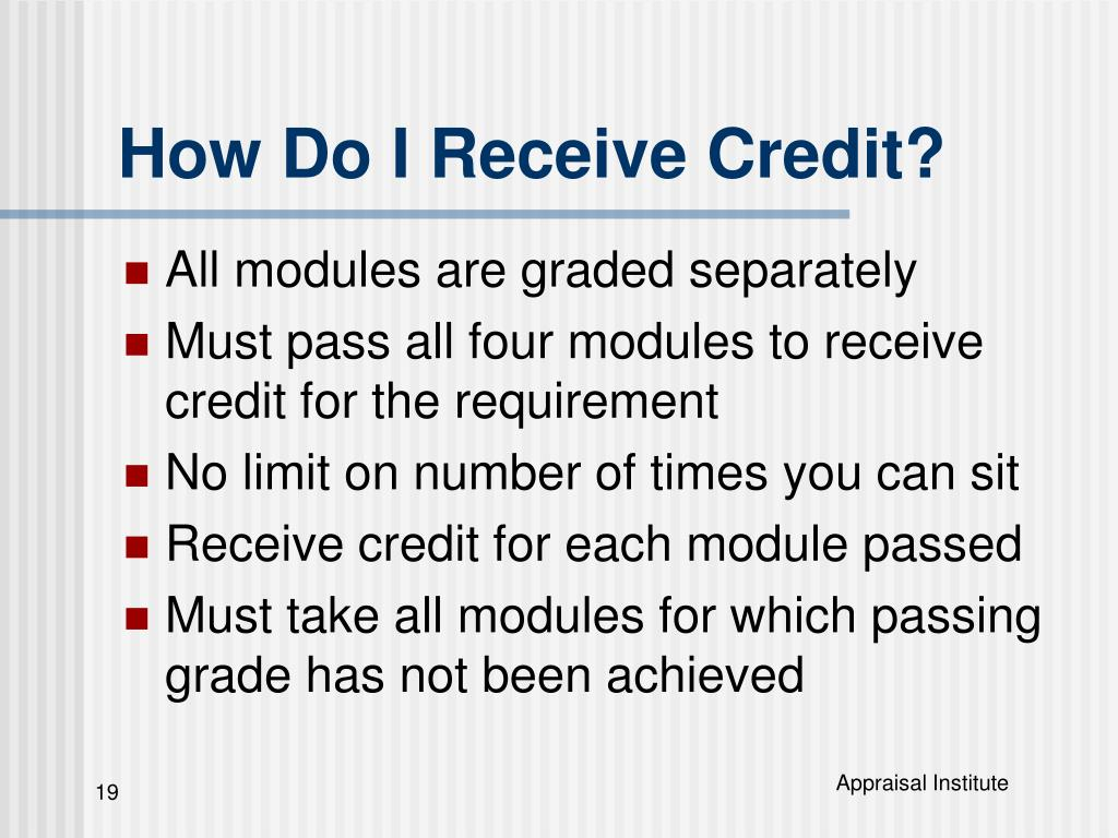 How Do I Receive Credit?