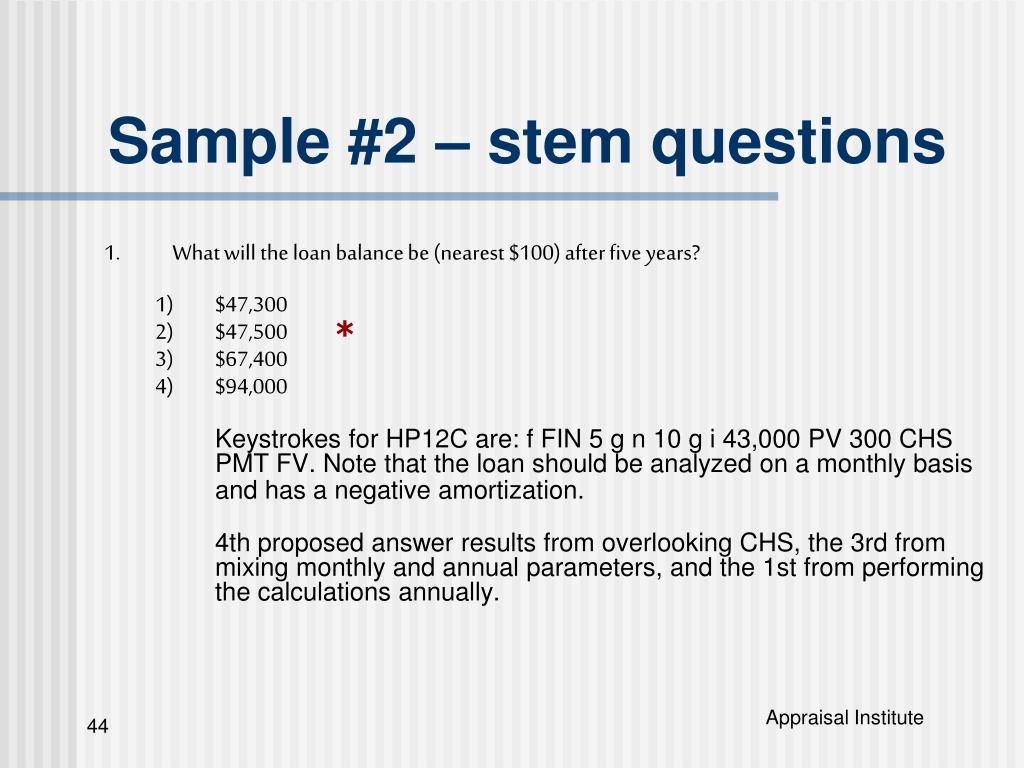 Sample #2 – stem questions