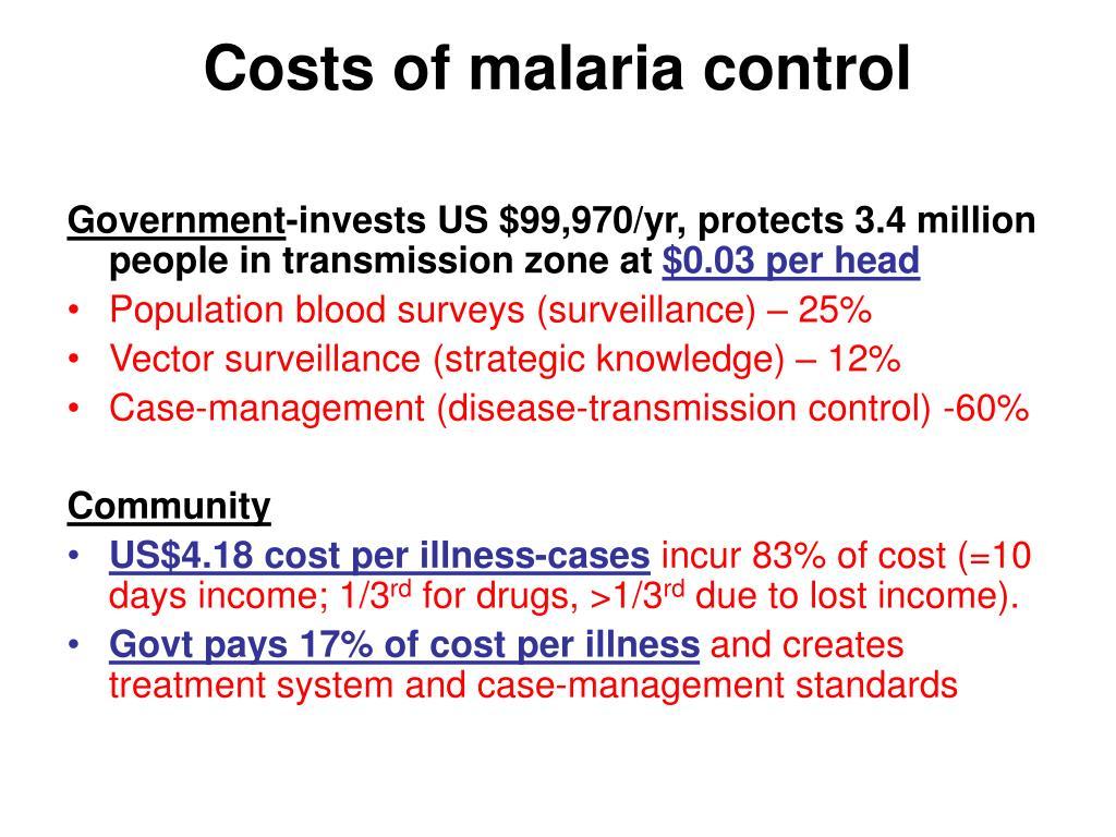 Costs of malaria control