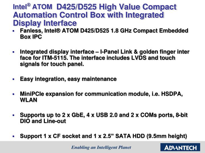 Intel atom d425 d525 high value compact automation control box with integrated display interface