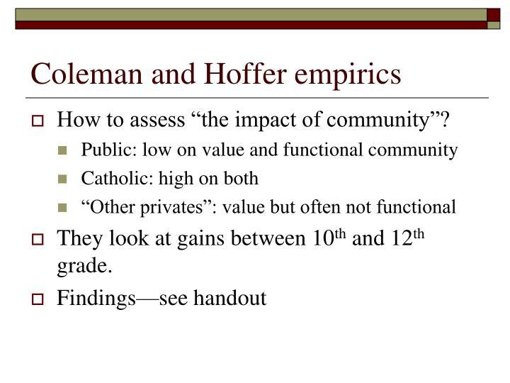Coleman and Hoffer empirics