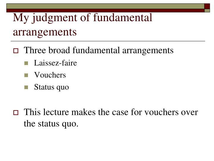 My judgment of fundamental arrangements