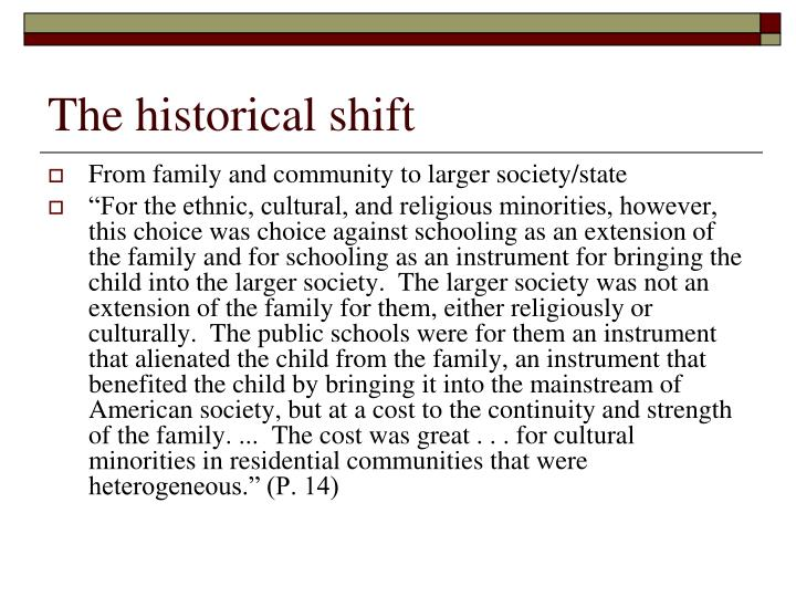 The historical shift
