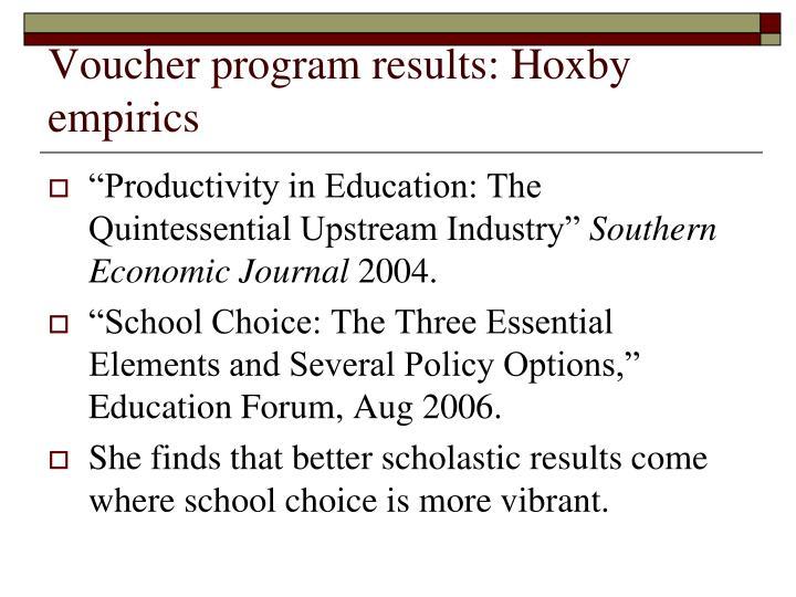 Voucher program results: Hoxby empirics