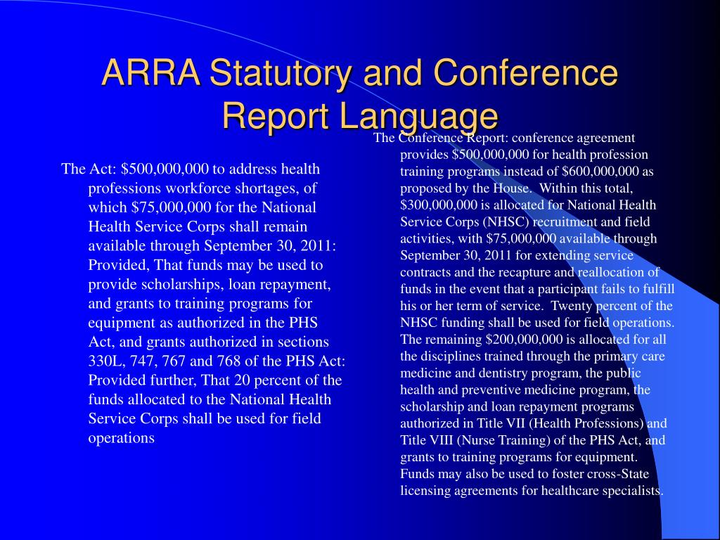 ARRA Statutory and Conference Report Language