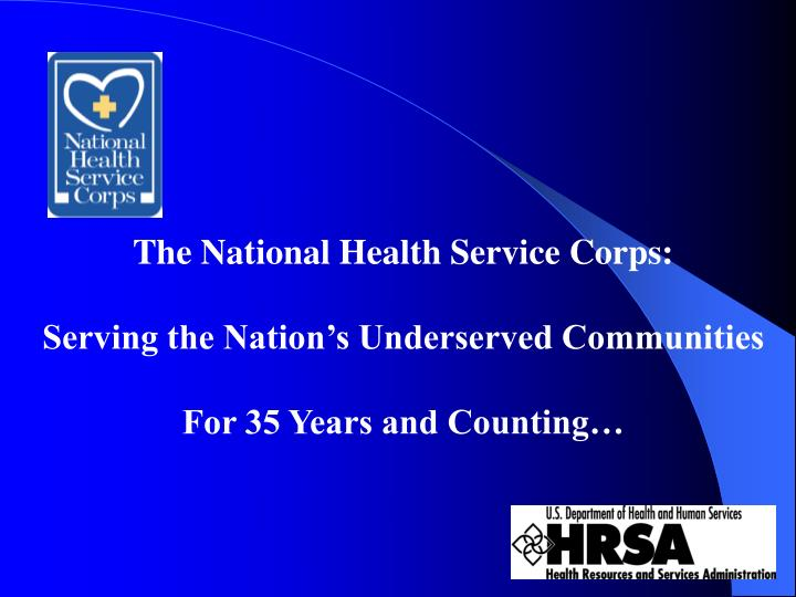 The National Health Service Corps: