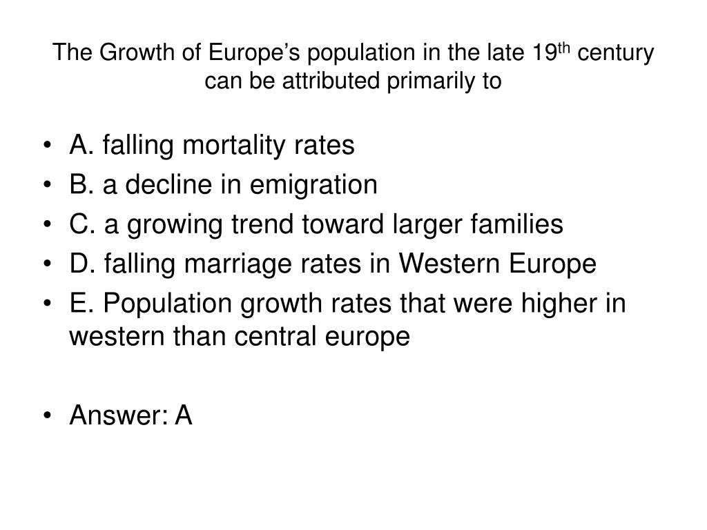 The Growth of Europe's population in the late 19