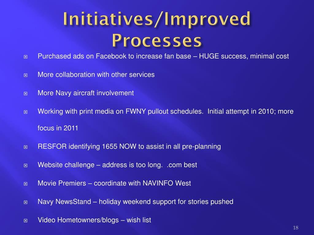 Initiatives/Improved Processes