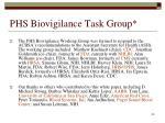 phs biovigilance task group