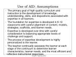 use of aid assumptions