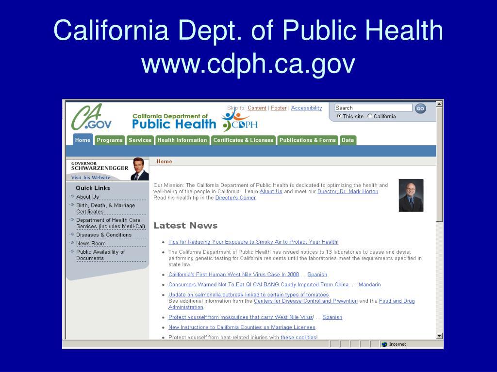 California Dept. of Public Health www.cdph.ca.gov