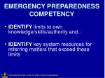 emergency preparedness competency