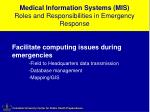 medical information systems mis roles and responsibilities in emergency response