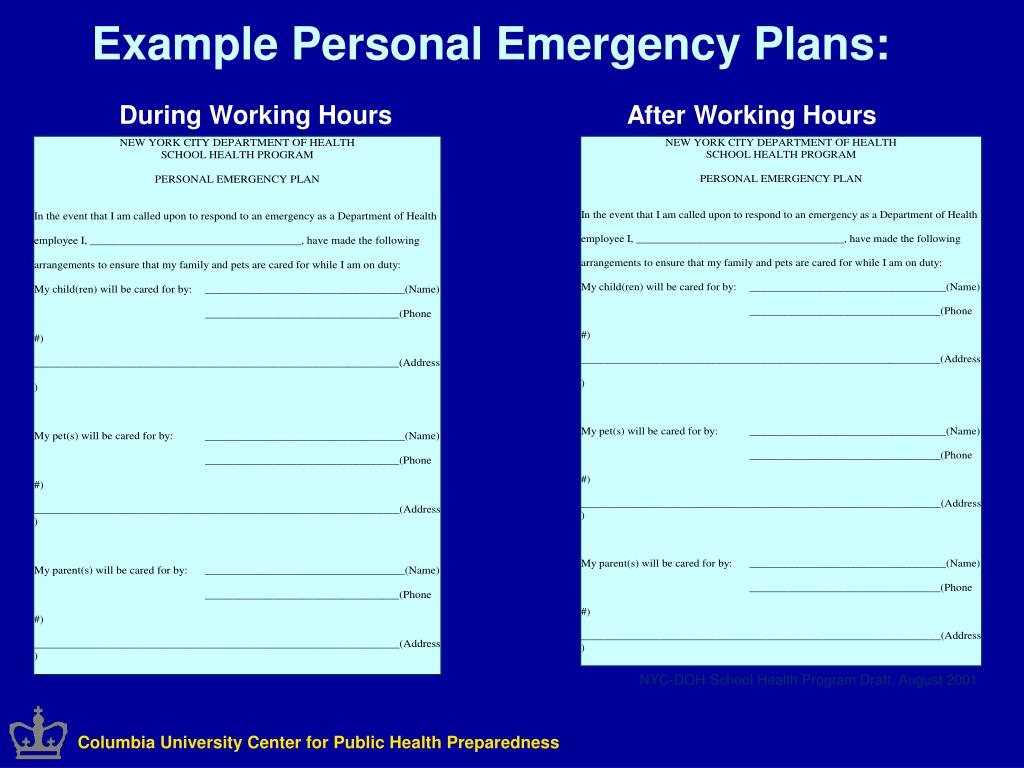 Example Personal Emergency Plans: