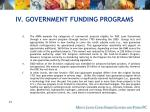 iv government funding programs41