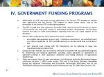 iv government funding programs49