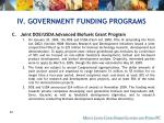 iv government funding programs62