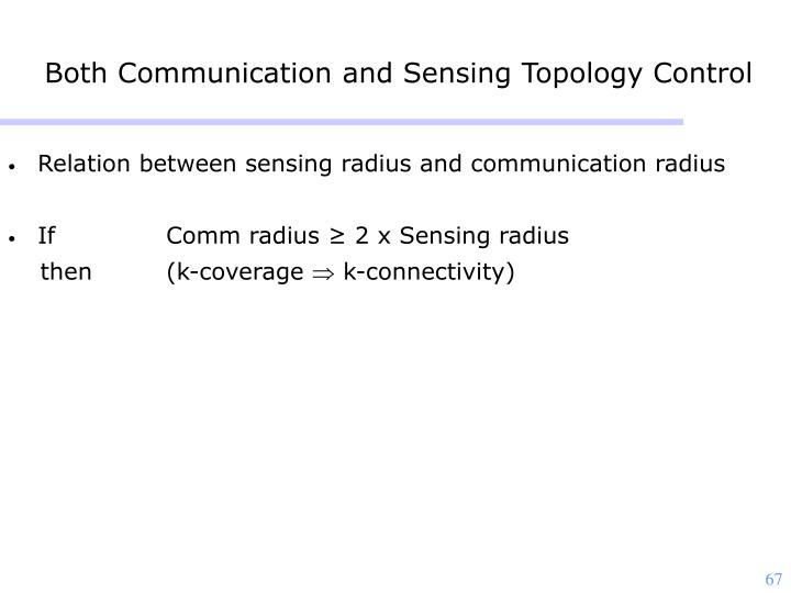 Both Communication and Sensing Topology Control
