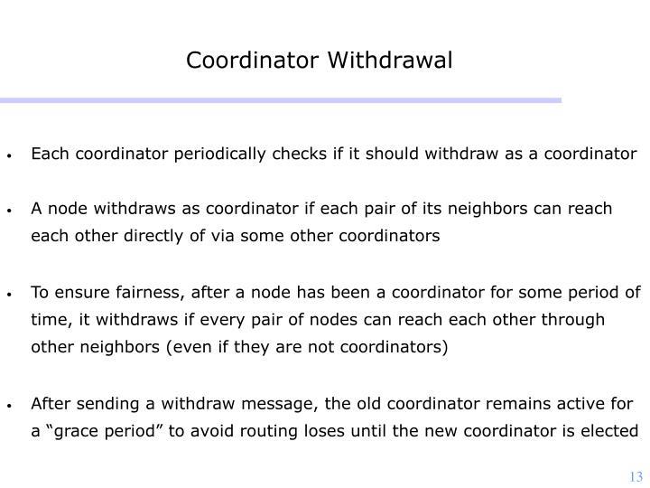 Coordinator Withdrawal