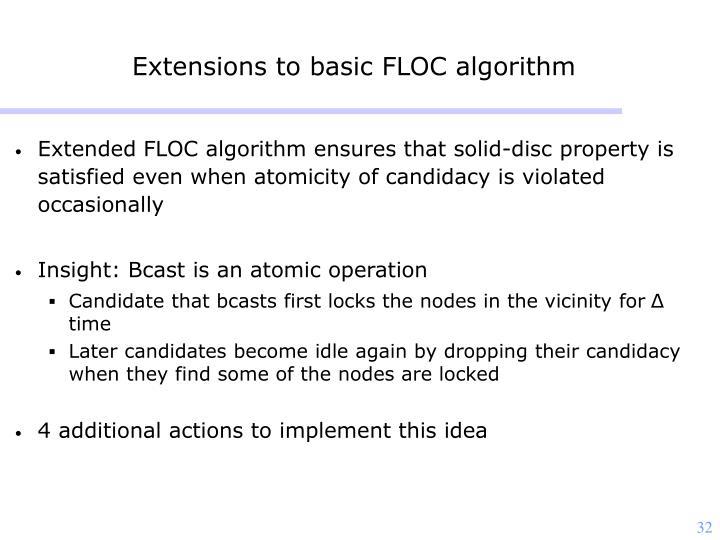 Extensions to basic FLOC algorithm